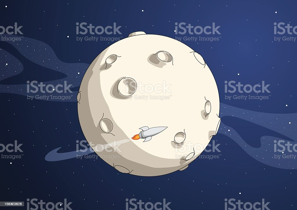 Cartoon of planet with rocket flying around vector art illustration