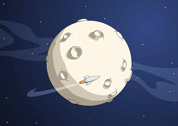 Cartoon of planet with rocket flying around Space scene. Rocket flying around the planet. HiRes *.jpg, *.AI included. moon surface stock illustrations