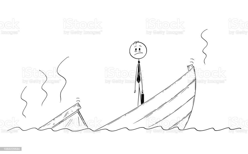 Ilustración De Caricatura De Político O Empresario Deprimido En