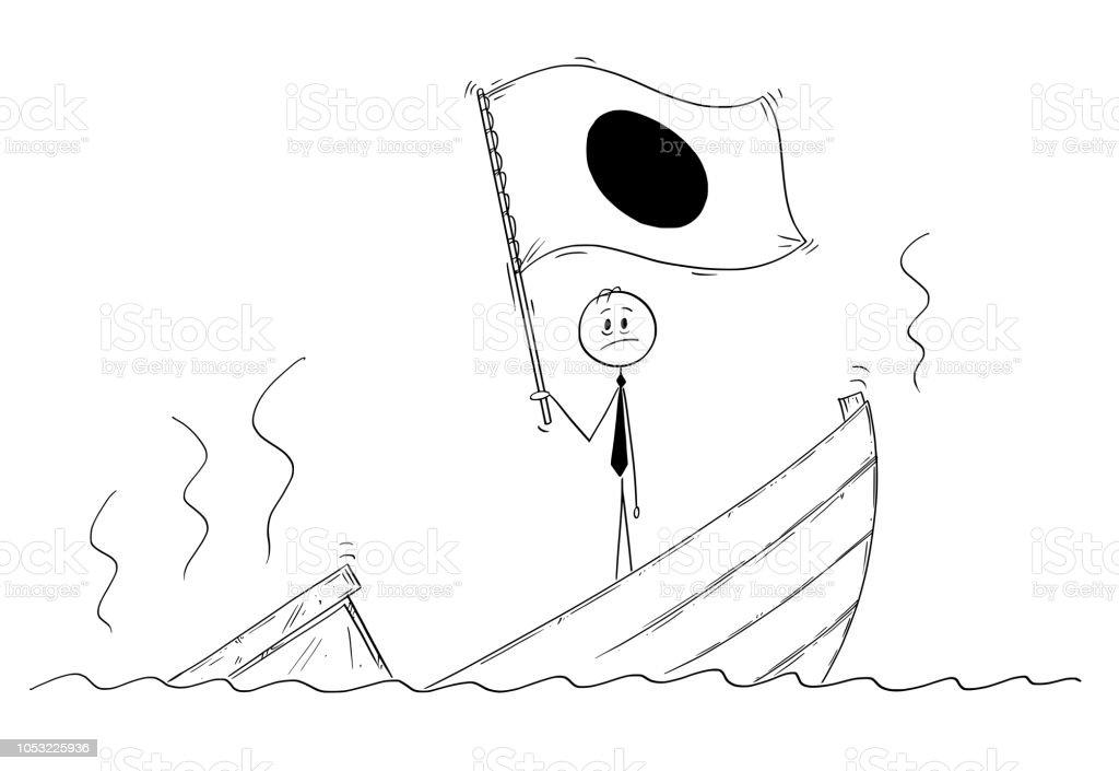 Ilustración De Caricatura De Político Permanente Deprimido En