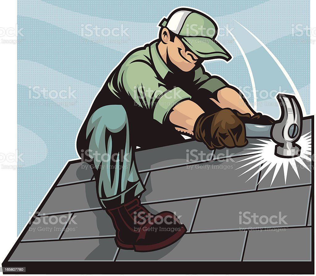 Cartoon of roofer on roof with hammer royalty-free stock vector art