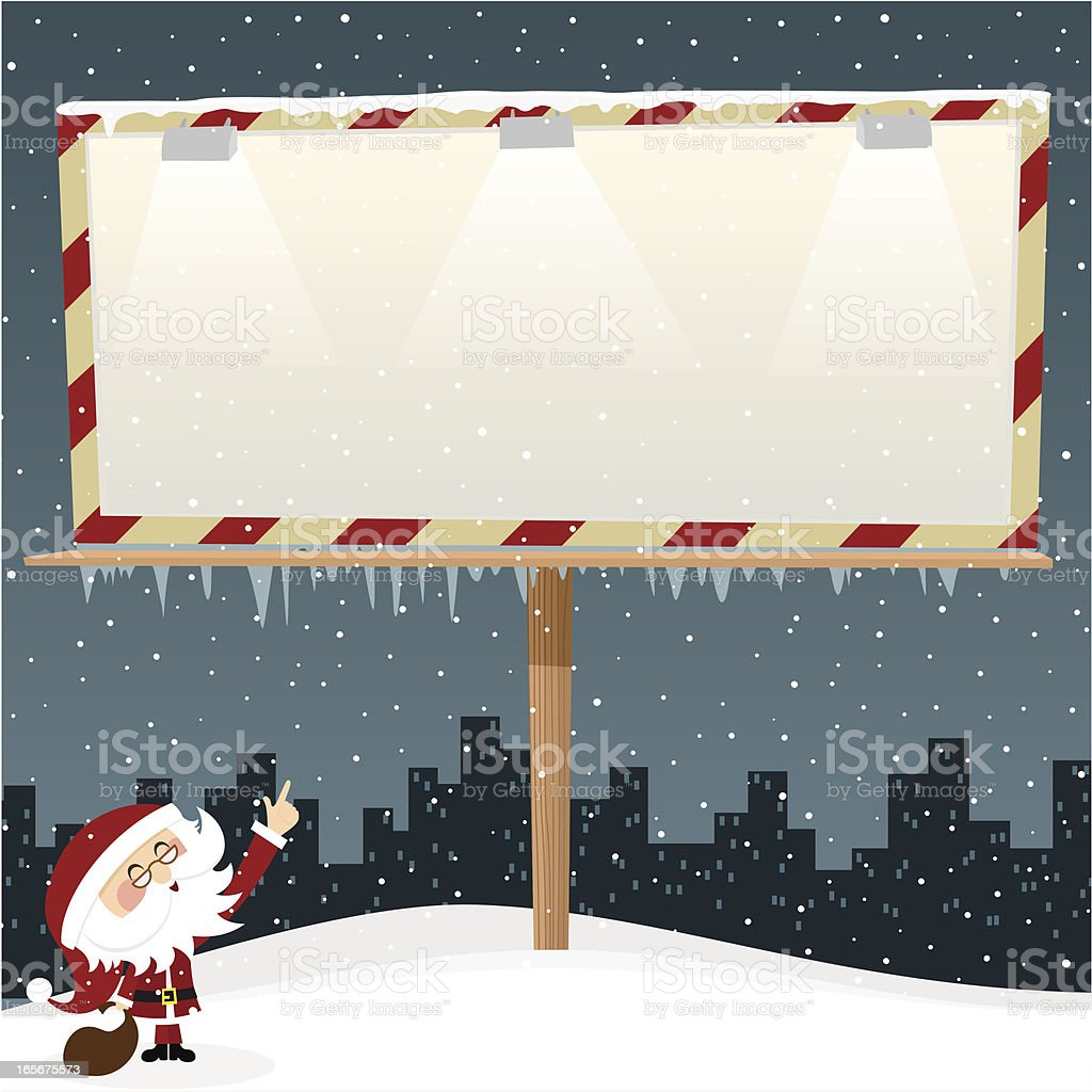 Cartoon of Santa Claus pointing to a blank template sign vector art illustration
