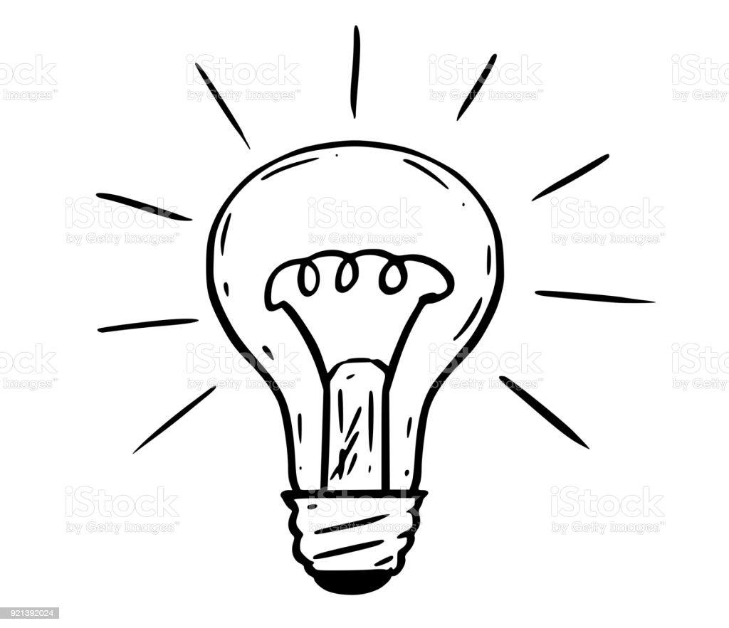 Cartoon of shining light bulb illustration