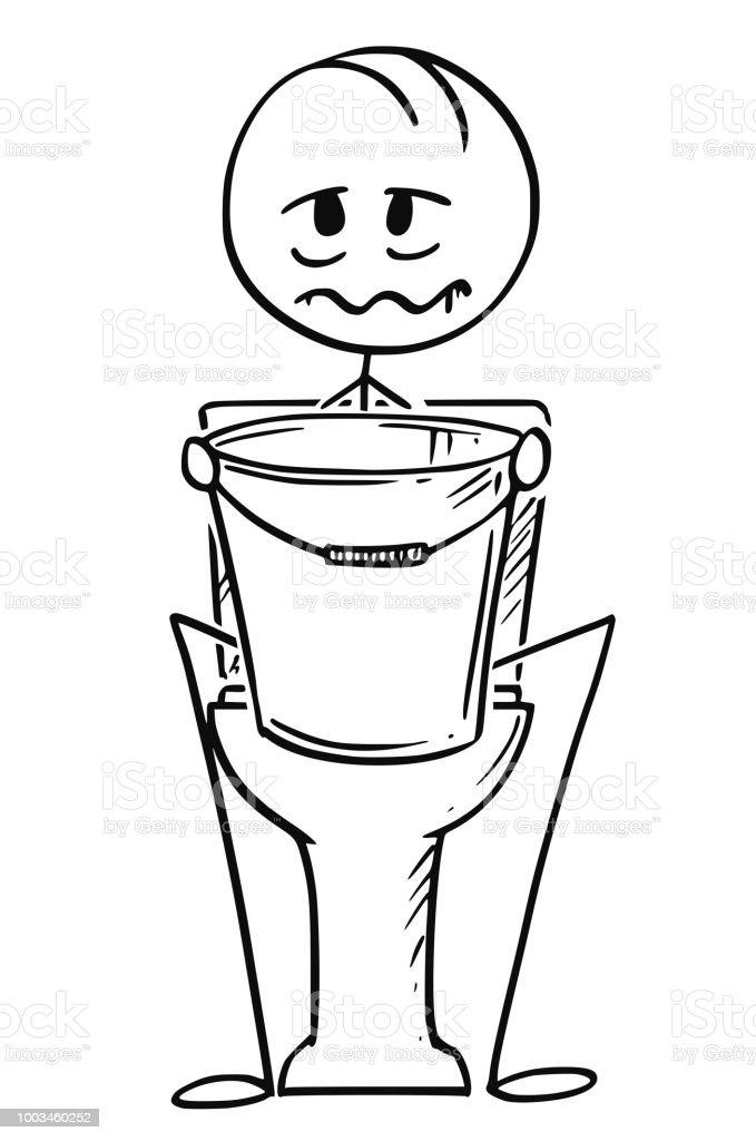 Karikatur Von Krank Oder Betrunken Mann Sitzt Auf Toilette Mit Eimer