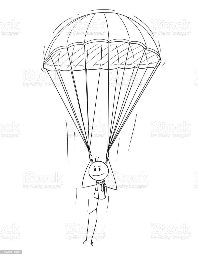 ilustraci 243 n de caricatura de hombre paracaidista o