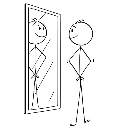 Cartoon of Smiling Cheerful Man Looking at Himself in the Mirror