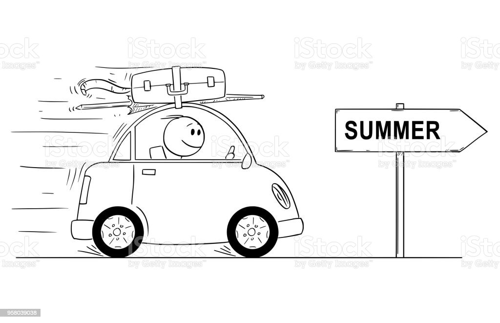 Cartoon Of Smiling Man Going In Small Car On Holiday Or Vacation Arrow Sign With