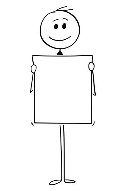 Dessin animé de sourire homme ou homme d'affaires détenant signe vide ou vide ou papier - Illustration vectorielle