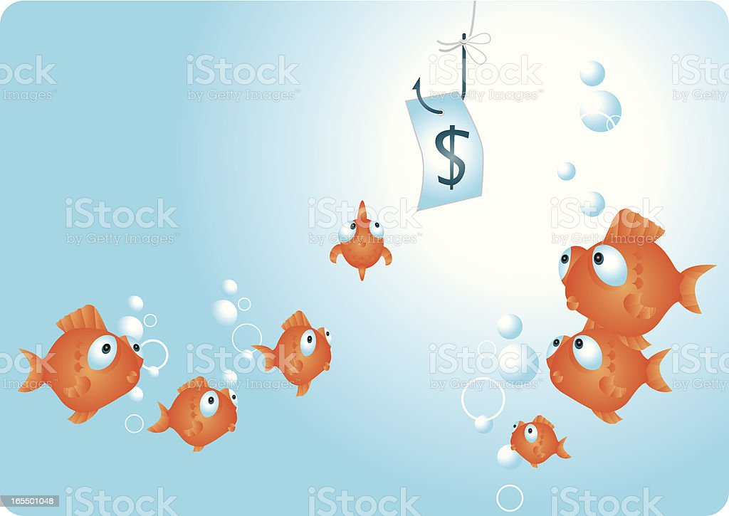 A cartoon of someone fishing with money as bait royalty-free stock vector art