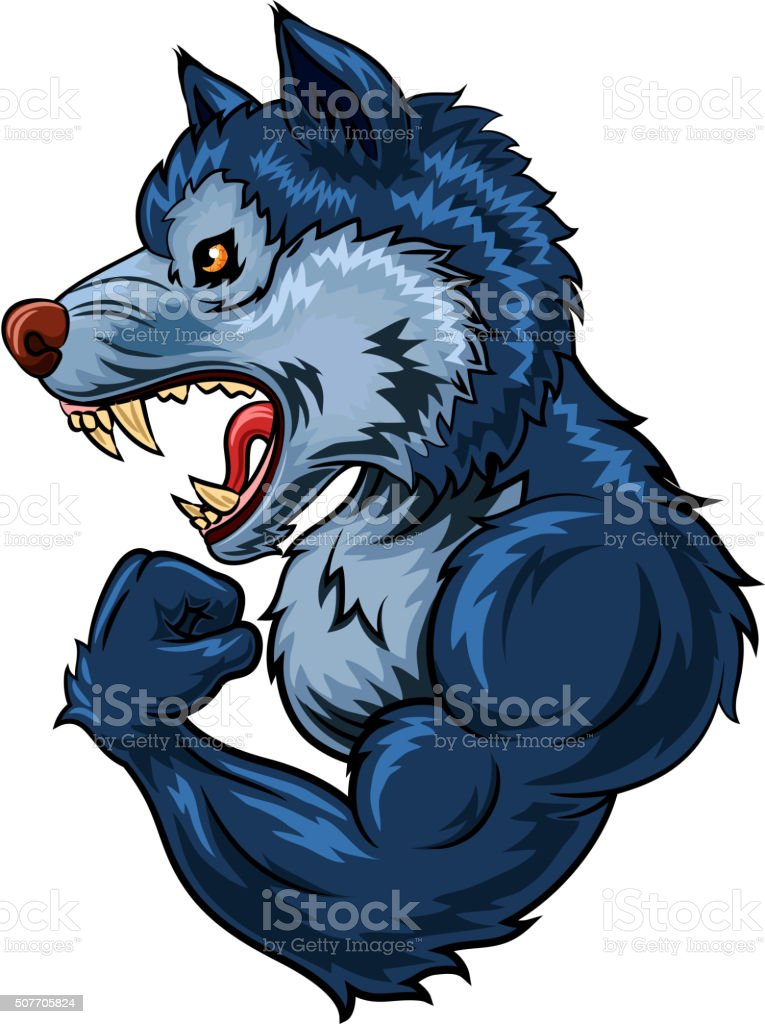 Cartoon of strong wolf character isolated on white background vector art illustration