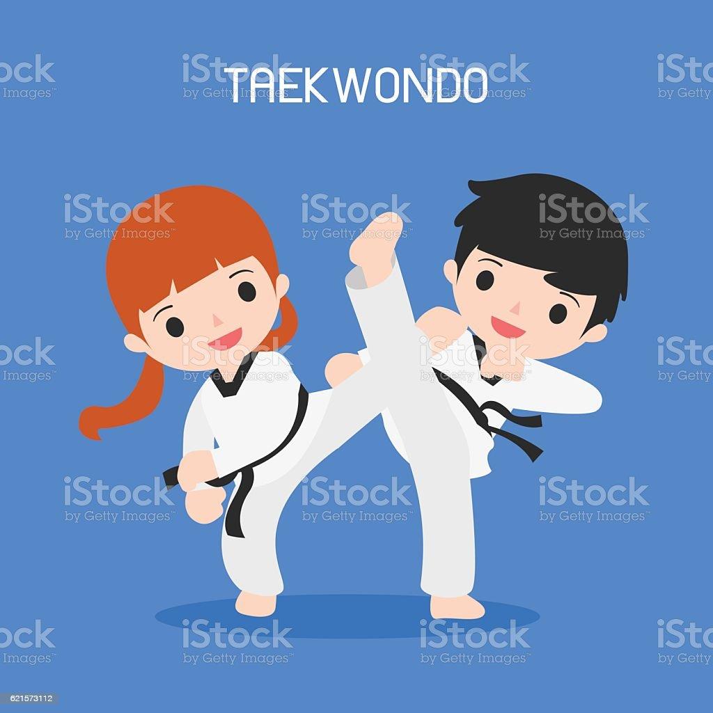 cartoon of taekwondo cartoon of taekwondo – cliparts vectoriels et plus d'images de activité libre de droits