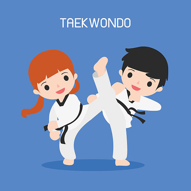 cartoon of taekwondo - taekwondo stock illustrations, clip art, cartoons, & icons