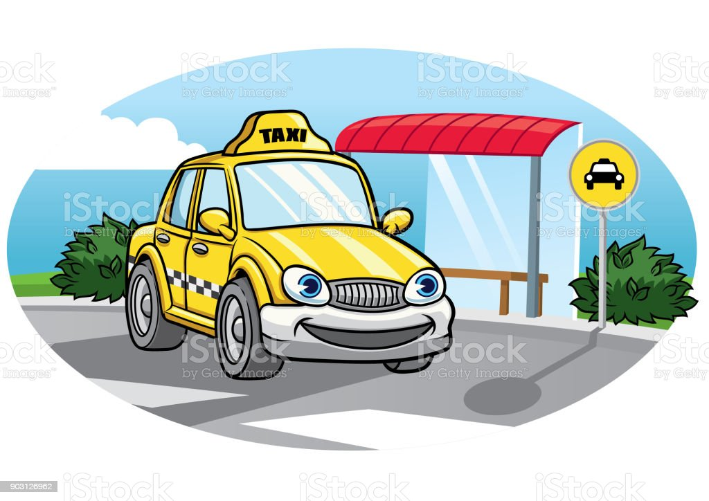 cartoon of taxi car vector art illustration