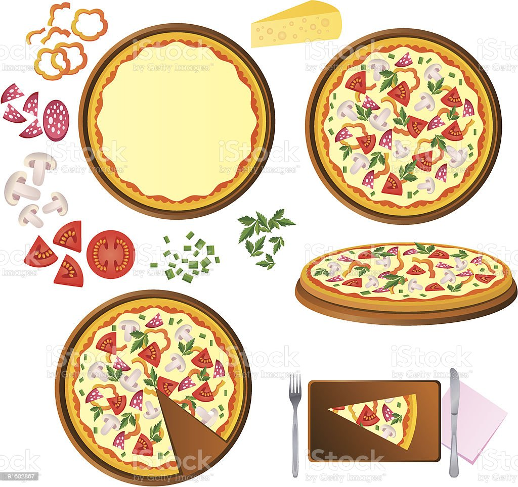 A cartoon of the different stages of making a pizza royalty-free stock vector art