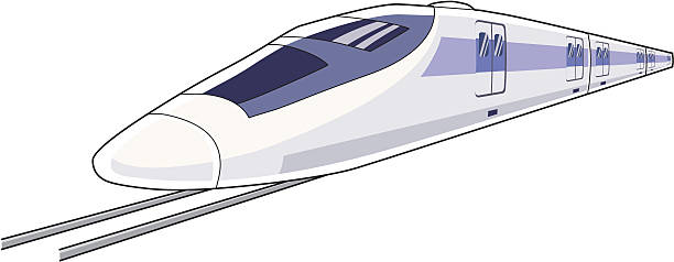 Cartoon of the front of a bullet train Bullet train high speed train stock illustrations
