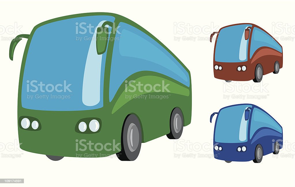 Cartoon of three different colored tourist buses vector art illustration