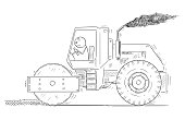 Cartoon stick drawing conceptual illustration of tired man driving or working with road roller or roadroller.