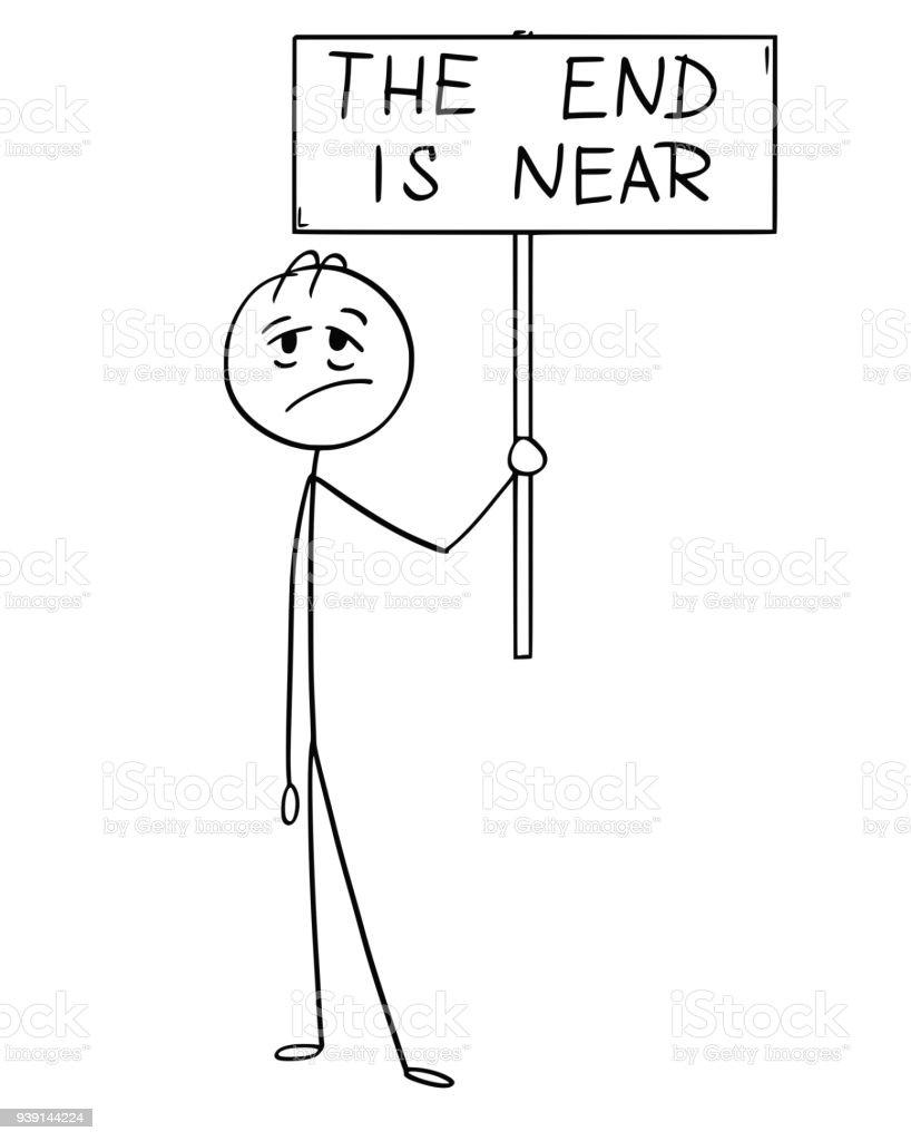 Cartoon Der Mude Mann Oder Geschaftsmann Mit Diesem Schild Ist Der Text End Stock Vektor Art Und Mehr Bilder Von Arbeiten Istock