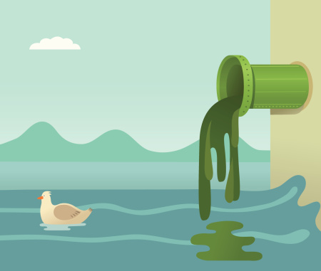 A cartoon of toxic waste flowing into the ocean
