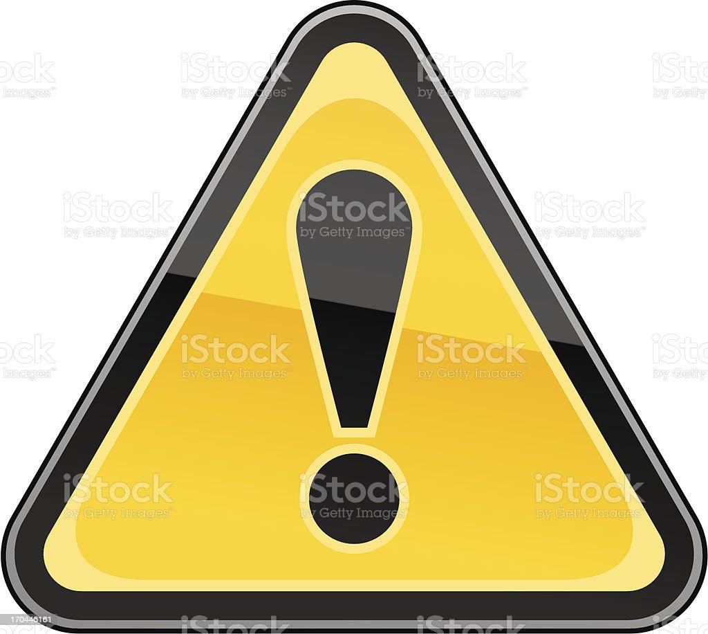 Cartoon of triangular warning sign vector art illustration