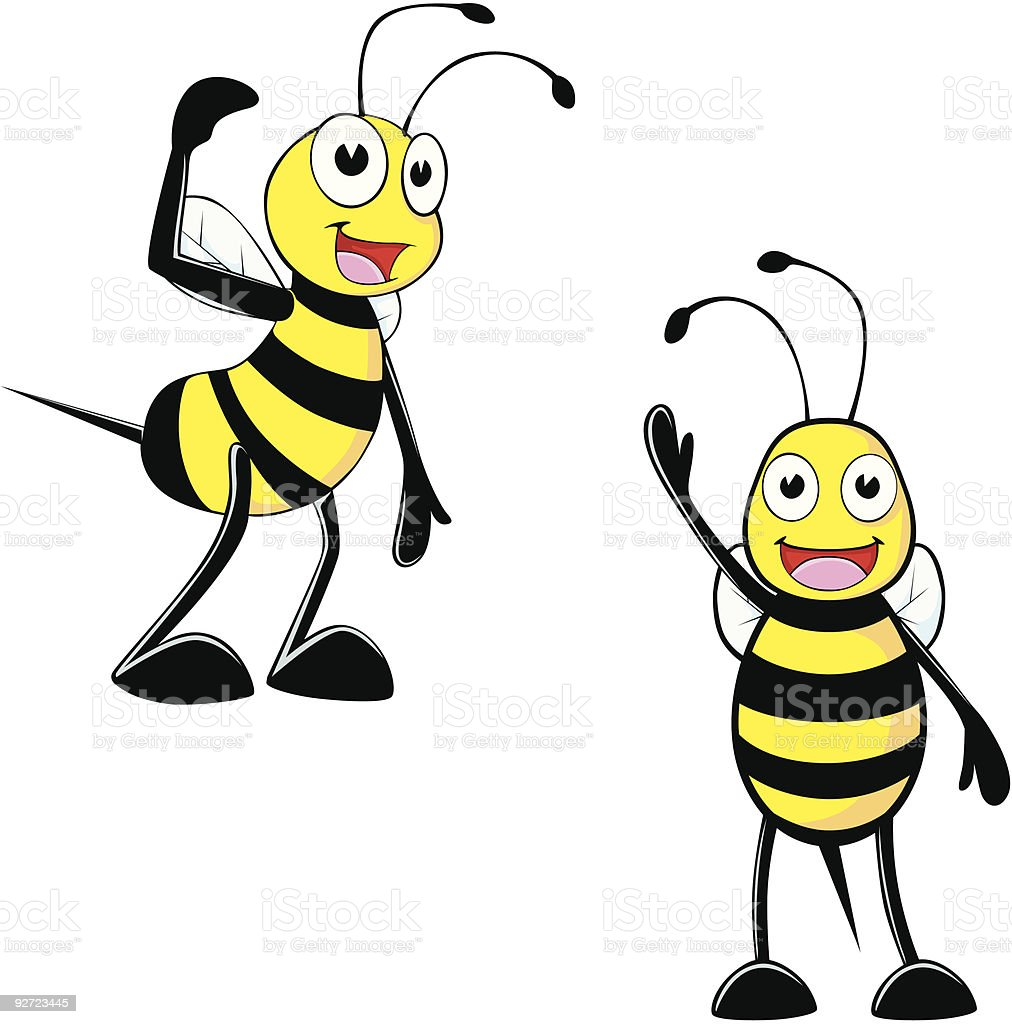 cartoon of two bees waving on a white background stock vector art