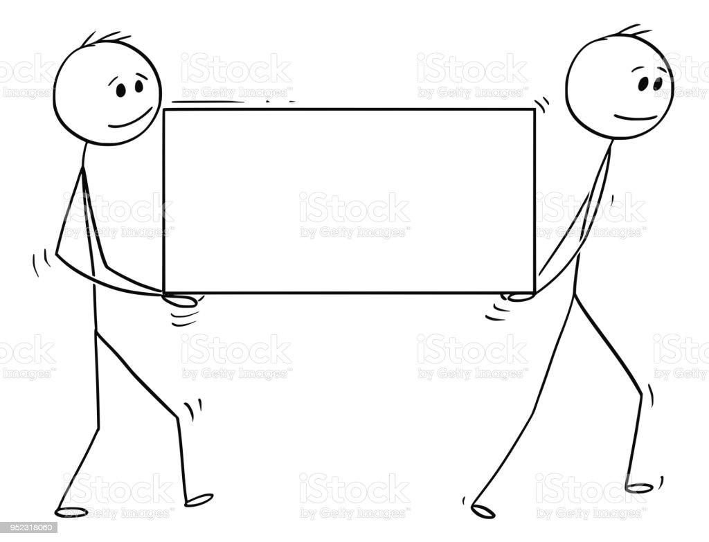 Dessin animé de deux homme ou hommes d'affaires transportant de gros bloc de pierre utilisable comme signe vide pour texte - Illustration vectorielle