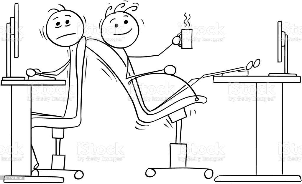 Dibujos animados de dos trabajadores de oficina con falta de espacio para sillas de - ilustración de arte vectorial