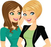 Cartoon of two young women smiling and talking