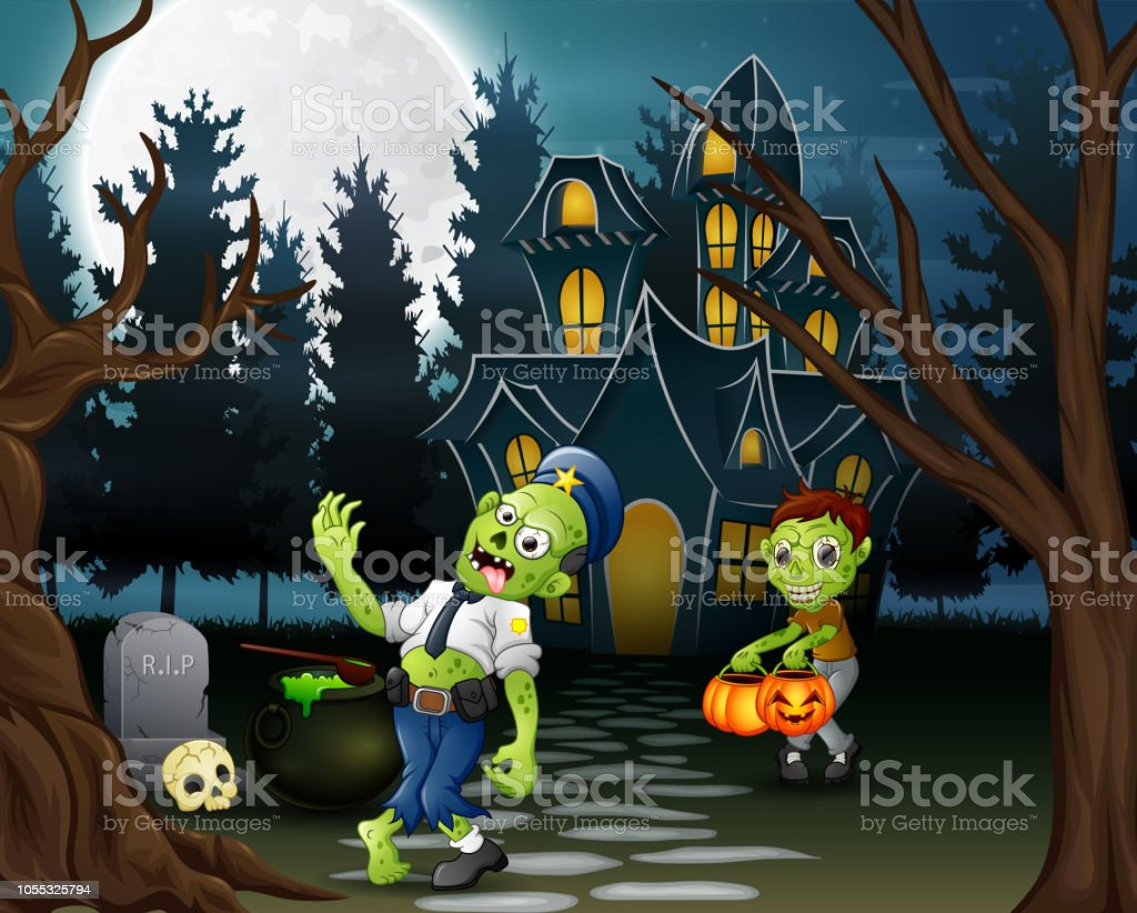 Cartoon Of Two Zombie In Front Of The Haunted House Stock