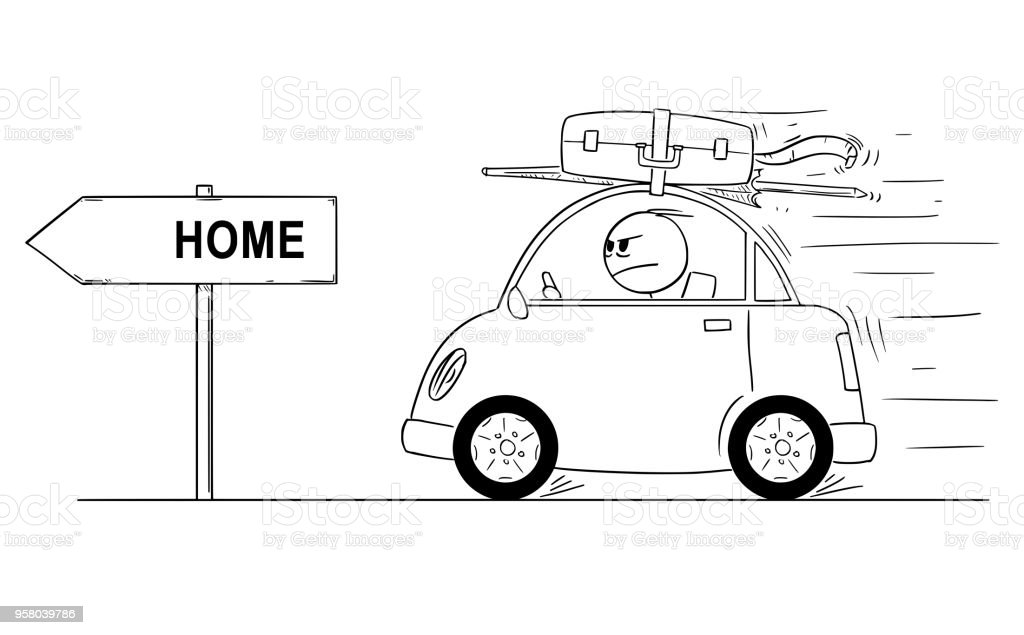 Cartoon Of Unhappy Or Angry Man Going Back Returning In Small Car From Holiday