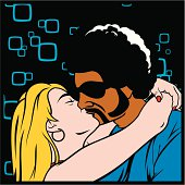 Funky youngsters in an interracial kiss