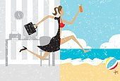 """""""A businesswoman with a briefcase making a split image transition to wearing a bikini on a beach vacation. The woman, office, and beach are on separate labeled layers."""""""