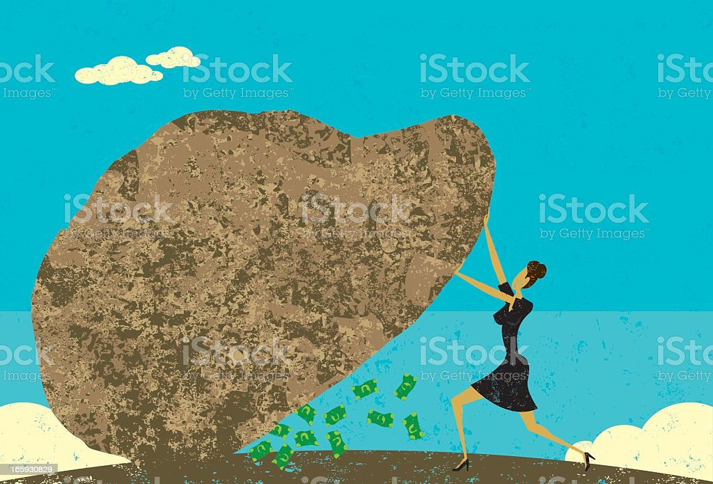 Cartoon of woman lifting a large rock with money underneath royalty-free stock vector art