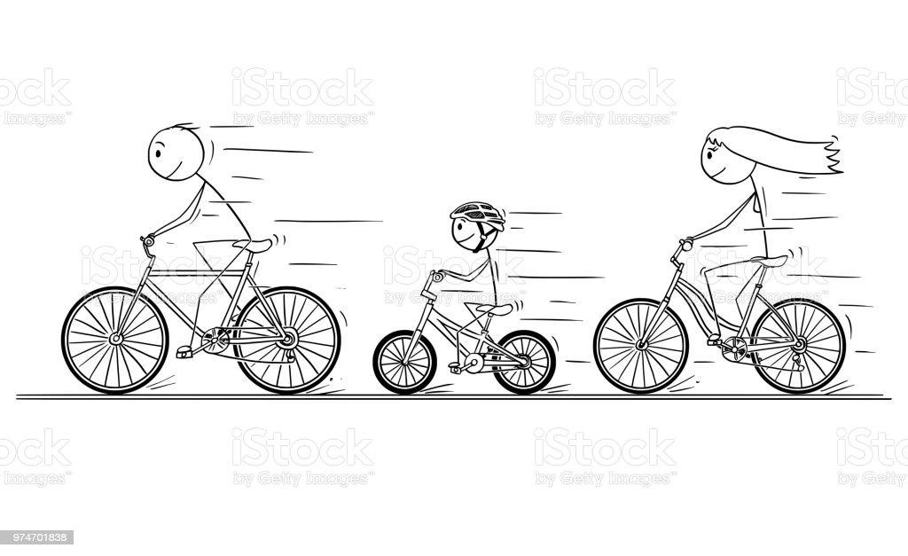 ilustração de desenhos animados da jovem família andando de