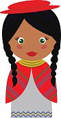 Vector Illustration of Bolivian Girl in Native Clothing