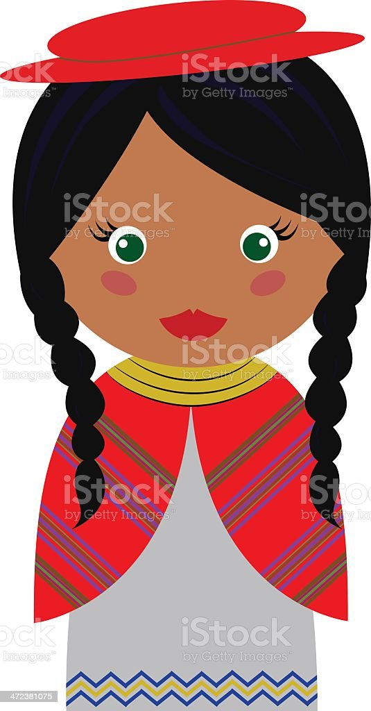 Cartoon of young girl in Bolivian dress vector art illustration