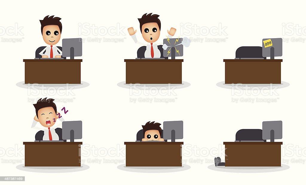 Schreibtisch büro comic  Comic Büro Mann Am Schreibtisch Vektor Illustration 487387469 | iStock