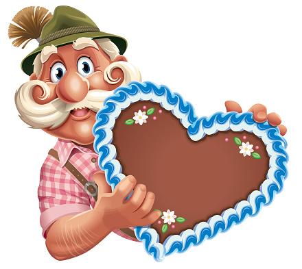 Cartoon Oktoberfest Man holding Heart
