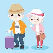 cartoon old couple on the blue background