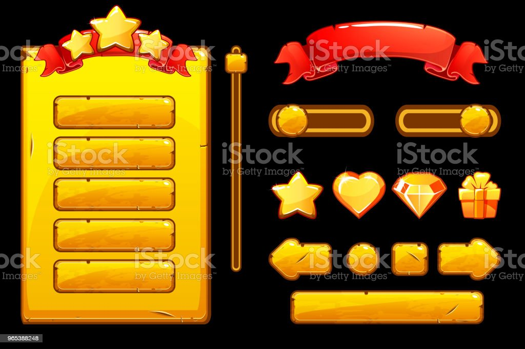 Cartoon old golden assets and buttons For Ui Game, Game User Interface and icons cartoon old golden assets and buttons for ui game game user interface and icons - stockowe grafiki wektorowe i więcej obrazów aplikacja mobilna royalty-free