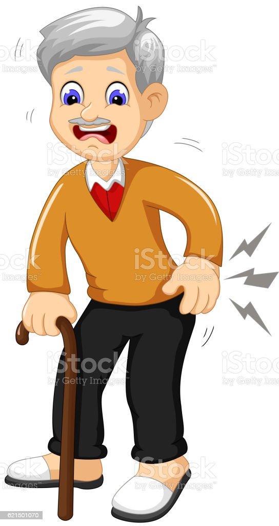 cartoon old grandfather was lumbago cartoon old grandfather was lumbago – cliparts vectoriels et plus d'images de blessure physique libre de droits