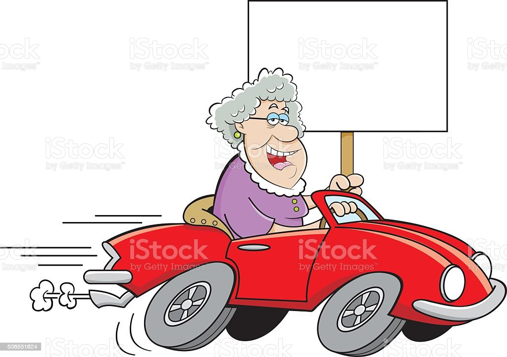 Cartoon Old Lady Driving A Sports Car And Holding A Sign Stock