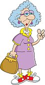 Cartoon old lady giving the peace sign.
