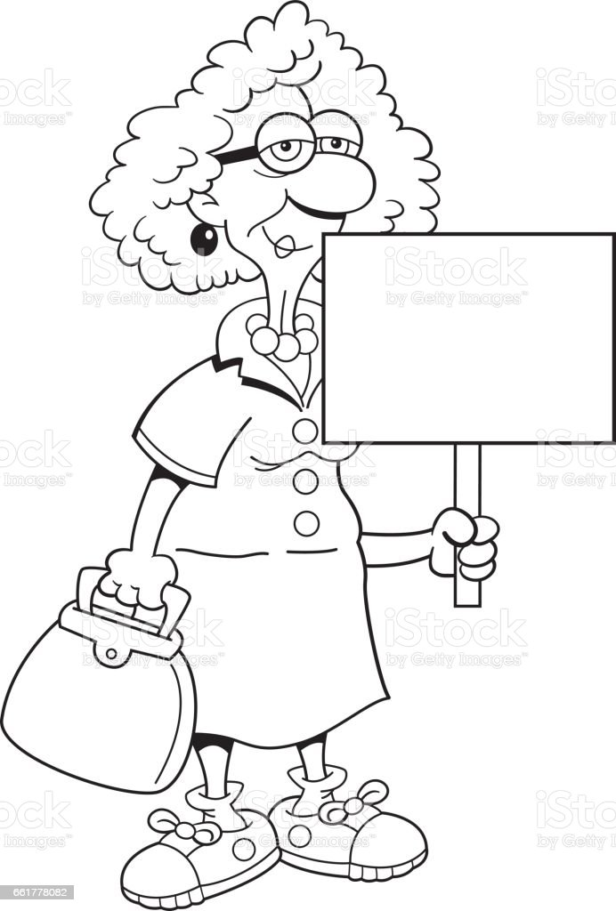 Cartoon Old Lady Holding A Sign Stock Illustration ...