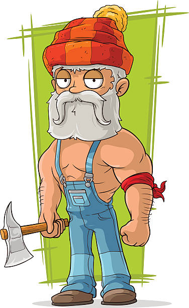 cartoon old lumberjack in red cap - old man shirtless silhouette stock illustrations, clip art, cartoons, & icons