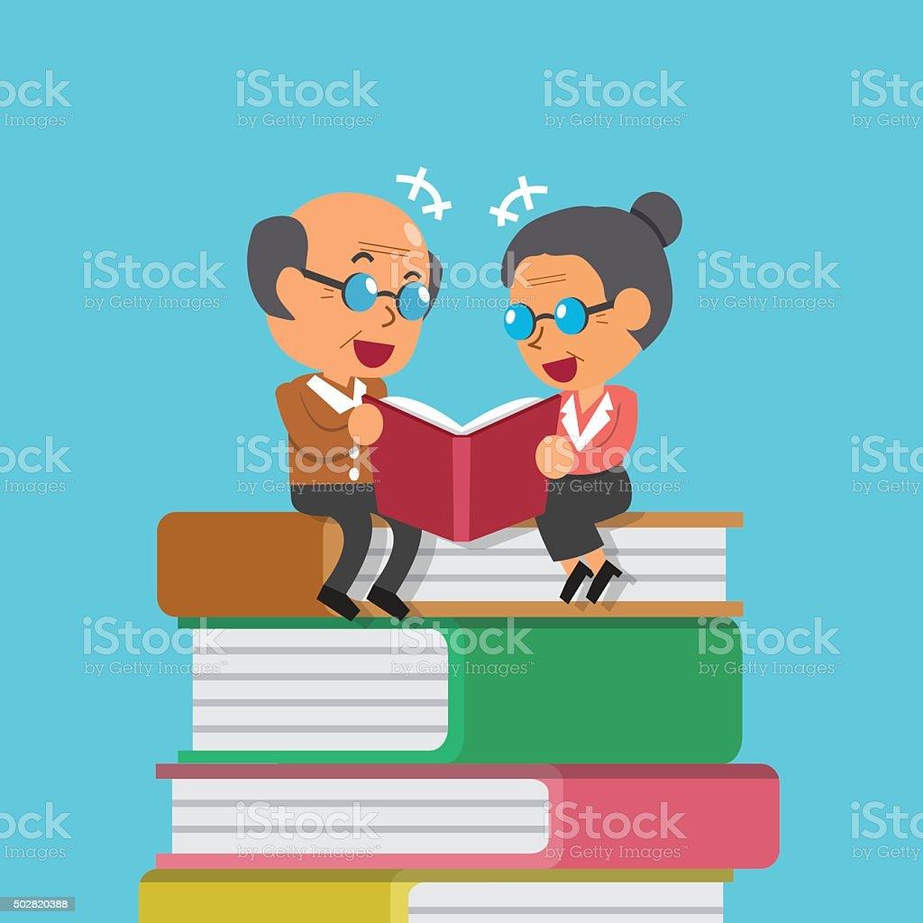 ilustração de desenho de homem velho e mulher lendo livro antigo e