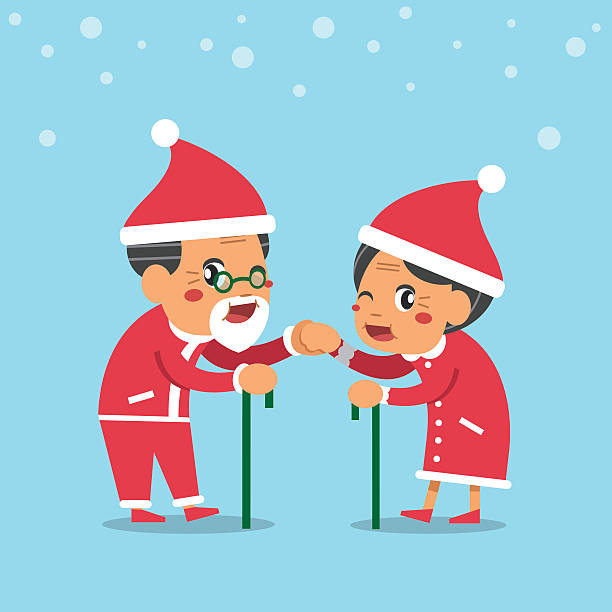 cartoon old man and old woman with christmas theme - old man funny pictures stock illustrations