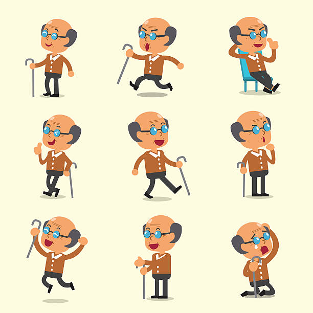 cartoon old man character poses on yellow background - old man sleeping silhouettes stock illustrations, clip art, cartoons, & icons