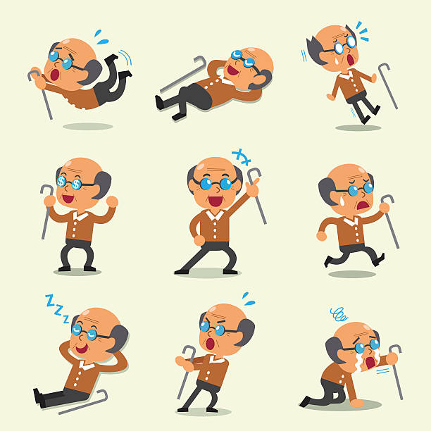cartoon old man character poses - old man crying stock illustrations, clip art, cartoons, & icons