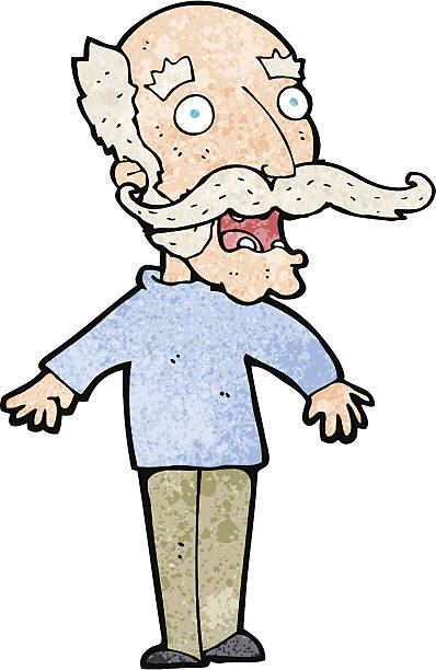 cartoon old man gasping in surprise - old man clipart stock illustrations, clip art, cartoons, & icons